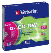 VERBATIM CD-RW 12X COLOUR SLIM TOKBAN (5)