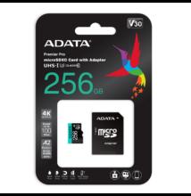 ADATA PREMIER PRO MICRO SDXC 256GB + ADAPTER CLASS 10 UHS-I U3 A2 V30 100/80 MB/s