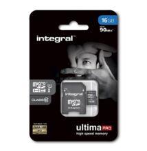 INTEGRAL ULTIMA PRO MICRO SDHC 16GB + ADAPTER CLASS 10 UHS-I U1 (90 MB/s OLVASÁSI SEBESSÉG)