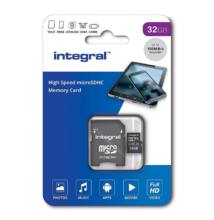 INTEGRAL MICRO SDHC 32GB + ADAPTER CLASS 10 UHS-I U1 A1 V10 (100 MB/s OLVASÁSI SEBESSÉG)