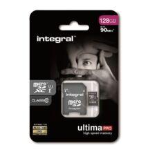 INTEGRAL ULTIMA PRO MICRO SDXC 128GB + ADAPTER CLASS 10 UHS-I U1 (90 MB/s OLVASÁSI SEBESSÉG)