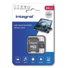 INTEGRAL MICRO SDXC 64GB + ADAPTER CLASS 10 UHS-I U1 A1 V10 (100 MB/s OLVASÁSI SEBESSÉG)