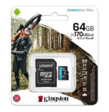 KINGSTON CANVAS GO PLUS MICRO SDXC 64GB + ADAPTER CLASS 10 UHS-I U3 A2 V30 170/70 MB/s