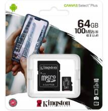 KINGSTON CANVAS SELECT PLUS MICRO SDXC 64GB + ADAPTER CLASS 10 UHS-I U1 A1 V10 (100 MB/s)