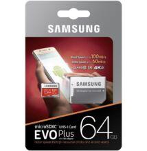 SAMSUNG MICRO SDXC 64GB + ADAPTER CLASS 10 UHS-I U3 EVO+ 100 MB/s OLVASÁSI SEBESSÉG