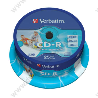 VERBATIM CD-R 52X FULL NYOMTATHATÓ ID BRANDED CAKE (25)