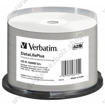 VERBATIM CD-R 52X FULL NYOMTATHATÓ NO ID DATALIFE PLUS CAKE (50)