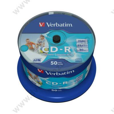 VERBATIM CD-R 52X FULL NYOMTATHATÓ NO ID CAKE (50)