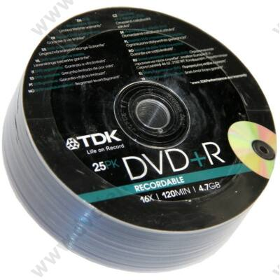 TDK DVD+R 16X SHRINK (25)