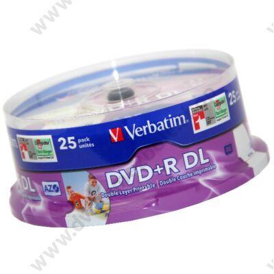 VERBATIM DVD+R 8X DL FULL NYOMTATHATÓ CAKE (25)