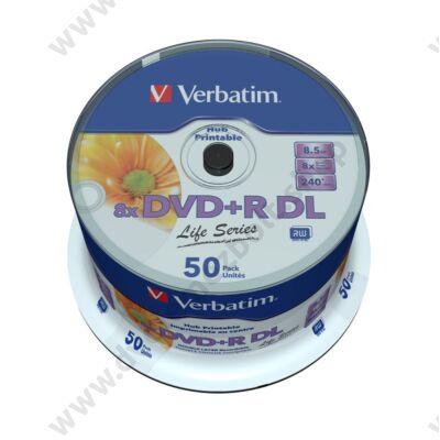 VERBATIM DVD+R 8X DL LIFE SERIES NYOMTATHATÓ CAKE (50)