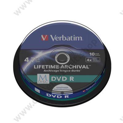 VERBATIM M-DISC DVD-R 4X LIFETIME ARCHIVAL NYOMTATHATÓ CAKE (10)