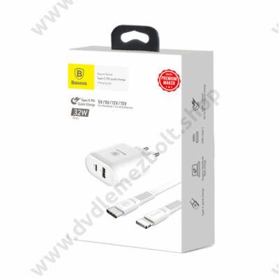 BASEUS TZTUN-BJ02 BOJURE SERIES HÁLÓZATI TÖLTŐ 3A 32W USB/USB-C PD PORT + USB-C/APPLE LIGHTNING TÖLTŐ ÉS ADATKÁBEL FEHÉR