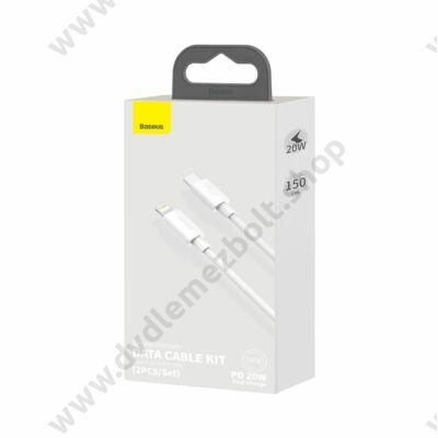 BASEUS TZCATLZJ-02 SIMPLE WISDOM USB-C/APPLE LIGHTNING TÖLTŐ ÉS ADATKÁBEL PD 20W 5A 1,5m FEHÉR (2 DB/CSOMAG)