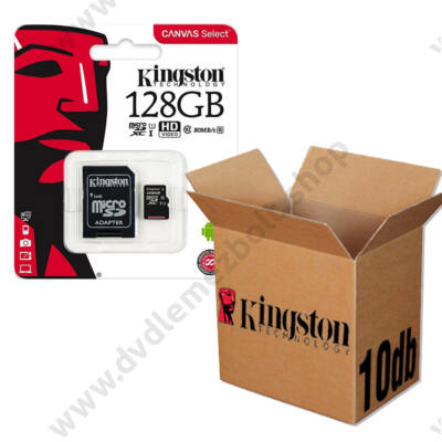 KINGSTON CANVAS SELECT MICRO SDXC 128GB + ADAPTER CLASS 10 UHS-I U1 - 10 DB-OS CSOMAG