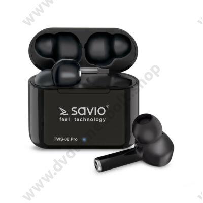 SAVIO TWS-08 PRO VEZETÉK NÉLKÜLI BLUETOOTH 5.0 TWS FÜLHALLGATÓ/HEADSET FEKETE
