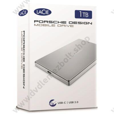 LACIE PORSCHE DESIGN MOBILE DRIVE 2,5 COL USB 3.1 TYPE-C KÜLSŐ MEREVLEMEZ 1TB EZÜST