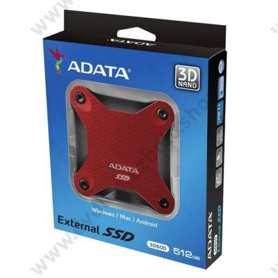 ADATA SD600 2,5 COL USB 3.1 KÜLSŐ SSD MEGHAJTÓ 512GB PIROS