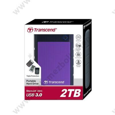 TRANSCEND STOREJET 25H3 2,5 COL USB 3.0 KÜLSŐ MEREVLEMEZ 2TB FEKETE/LILA