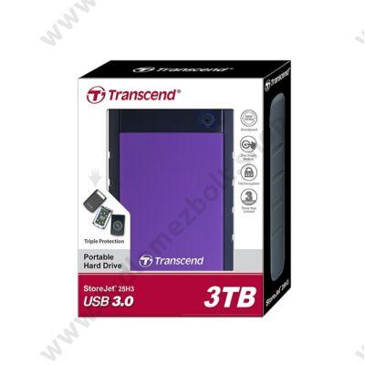 TRANSCEND STOREJET 25H3 2,5 COL USB 3.0 KÜLSŐ MEREVLEMEZ 3TB FEKETE/LILA