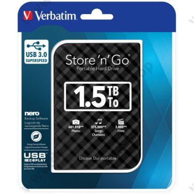 VERBATIM USB 3.0 HDD 2,5 STORE N GO G2 1,5TB FEKETE