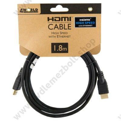 4WORLD HDMI-HDMI KÁBEL 1.4 ARANYOZOTT 1,8m