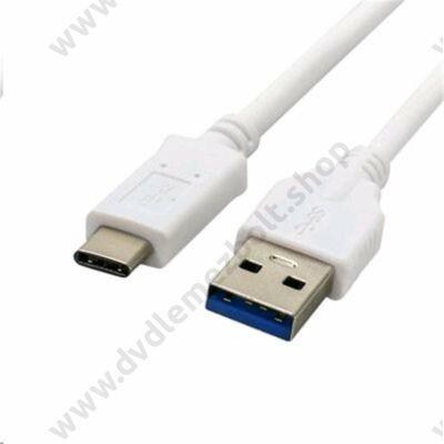 C-TECH USB 3.0 TYPE-C A-MALE/C-MALE KÁBEL 1m FEHÉR