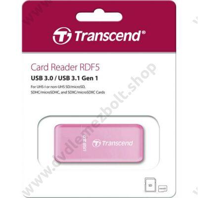 TRANSCEND RDF5 USB 3.0/USB 3.1 MICRO SD/MICRO SDHC/MICRO SDXC SD/SDHC/SDXC MEMÓRIAKÁRTYA OLVASÓ RÓZSASZÍN