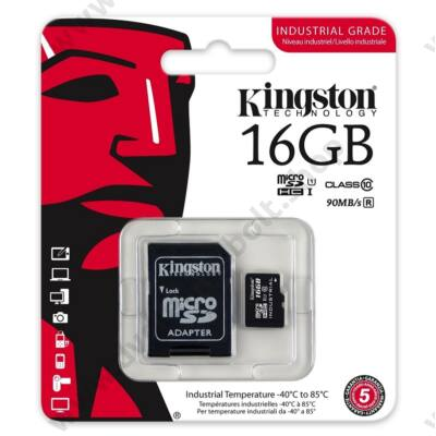 KINGSTON MICRO SDHC 16GB + ADAPTER UHS-I CLASS 10 INDUSTRIAL TEMPERATURE