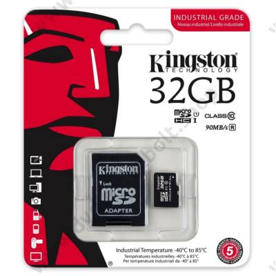 KINGSTON MICRO SDHC 32GB + ADAPTER UHS-I CLASS 10 INDUSTRIAL TEMPERATURE