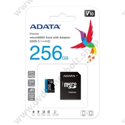 ADATA MICRO SDXC 256GB + ADAPTER CLASS 10 UHS-I U1 A1 V10 (100 MB/s OLVASÁSI SEBESSÉG)
