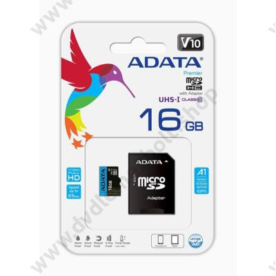 ADATA MICRO SDHC 16GB + ADAPTER CLASS 10 UHS-I U1 A1 V10 (85 MB/s OLVASÁSI SEBESSÉG)