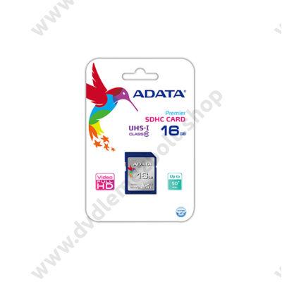 ADATA 16GB SDHC CLASS 10 UHS-I (50MB/s OLVASÁSI 10MB/s ÍRÁSI SEBESSÉG)