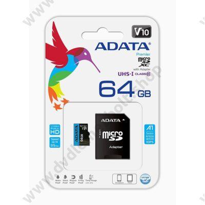ADATA MICRO SDXC 64GB + ADAPTER CLASS 10 UHS-I U1 A1 V10 (85 MB/s OLVASÁSI SEBESSÉG)