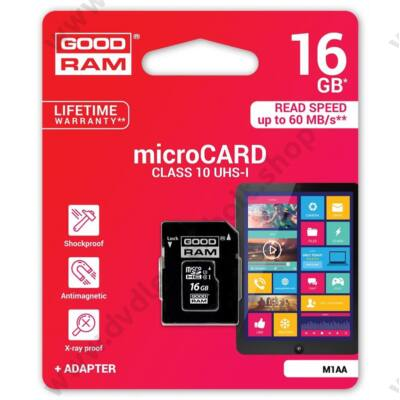 GOODRAM MICRO SDHC 16GB + ADAPTER CLASS 10 UHS-I U1 (60 MB/s OLVASÁSI SEBESSÉG)