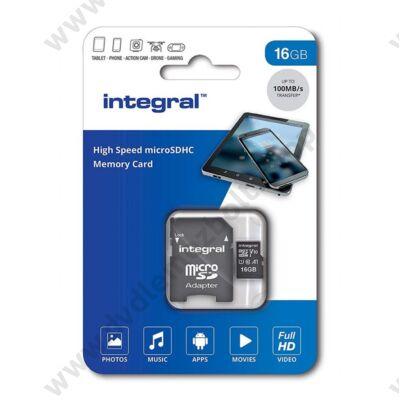 INTEGRAL MICRO SDHC 16GB + ADAPTER CLASS 10 UHS-I U1 A1 V10 (100 MB/s OLVASÁSI SEBESSÉG)