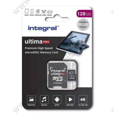 INTEGRAL ULTIMA PRO MICRO SDXC 128GB + ADAPTER CLASS 10 UHS-I U3 A1 V30 100/90 MB/s