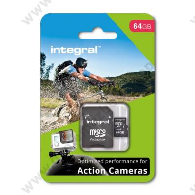 INTEGRAL ACTION CAMERA MICRO SDXC 64GB + ADAPTER CLASS 10 UHS-I U3 95/60 MB/s