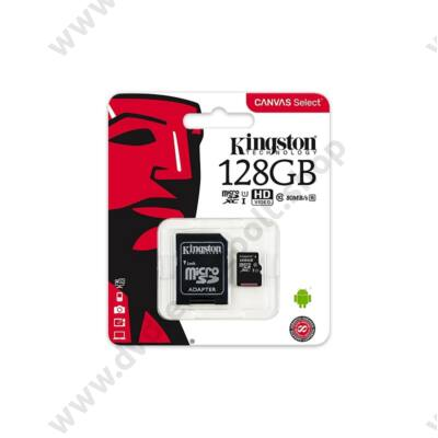 KINGSTON CANVAS SELECT MICRO SDXC 128GB + ADAPTER CLASS 10 UHS-I U1 (80 MB/s OLVASÁSI SEBESSÉG)
