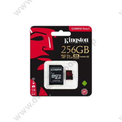 KINGSTON CANVAS REACT MICRO SDXC 256GB + ADAPTER CLASS 10 UHS-I U3 A1 V30 100/80 MB/s