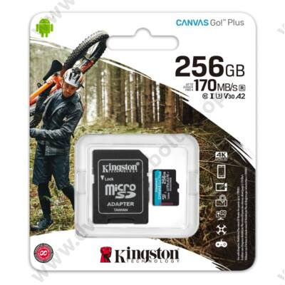 KINGSTON CANVAS GO PLUS MICRO SDXC 256GB + ADAPTER CLASS 10 UHS-I U3 A2 V30 170/90 MB/s