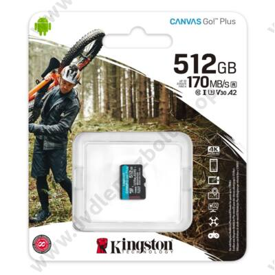 KINGSTON CANVAS GO PLUS MICRO SDXC 512GB CLASS 10 UHS-I U3 A2 V30 170/90 MB/s
