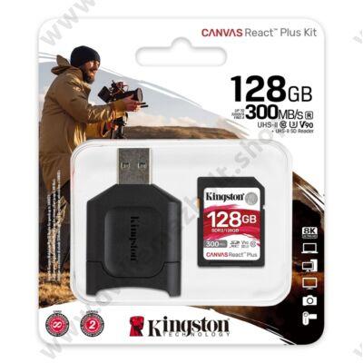 KINGSTON CANVAS REACT PLUS KIT SDXC 128GB CLASS 10 UHS-II U3 V90 300/260 MB/s