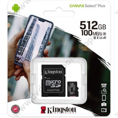 KINGSTON CANVAS SELECT PLUS MICRO SDXC 512GB + ADAPTER CLASS 10 UHS-I U3 A1 V30 (100/85 MB/s)