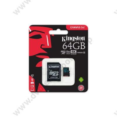 KINGSTON CANVAS GO MICRO SDXC 64GB + ADAPTER CLASS 10 UHS-I U3 V30 (90 MB/s OLVASÁSI - 45 MB/s ÍRÁSI SEBESSÉG)