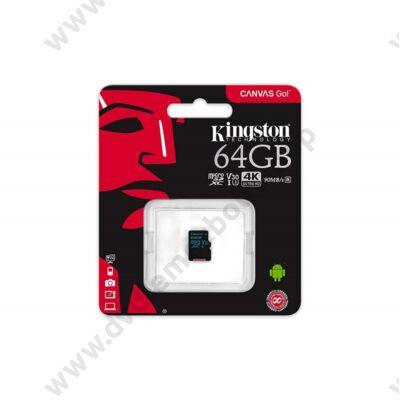 KINGSTON CANVAS GO MICRO SDXC 64GB CLASS 10 UHS-I U3 V30 (90 MB/s OLVASÁSI - 45 MB/s ÍRÁSI SEBESSÉG)