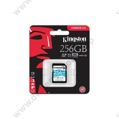 KINGSTON CANVAS GO SDXC 256GB CLASS 10 UHS-I U3 V30 (90 MB/s OLVASÁSI - 45 MB/s ÍRÁSI SEBESSÉG)