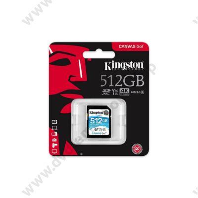 KINGSTON CANVAS GO SDXC 512GB CLASS 10 UHS-I U3 V30 (90 MB/s OLVASÁSI - 45 MB/s ÍRÁSI SEBESSÉG)