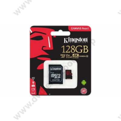 KINGSTON CANVAS REACT MICRO SDXC 128GB + ADAPTER CLASS 10 UHS-I U3 A1 V30 (100 MB/s OLVASÁSI - 80 MB/s ÍRÁSI SEBESSÉG)