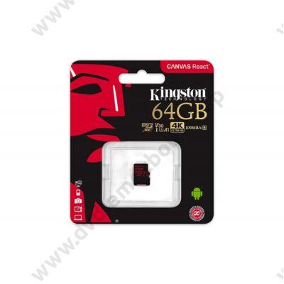 KINGSTON CANVAS REACT MICRO SDXC 64GB CLASS 10 UHS-I U3 A1 V30 (100 MB/s OLVASÁSI - 80 MB/s ÍRÁSI SEBESSÉG)